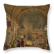 Banquet In The Baronial Hall, Penshurst Throw Pillow