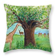 Baobab And Giraffe Throw Pillow