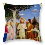 Baptism Of Christ - Oil On Canvas Throw Pillow