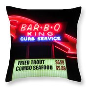 Bar B Q King In Charlotte N C Throw Pillow by Randall Weidner