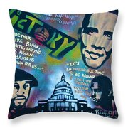 Barack And Common And Kanye Throw Pillow