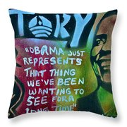 Barack And Fifty Cent Throw Pillow by Tony B Conscious