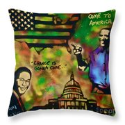 Barack And Sam Cooke Throw Pillow by Tony B Conscious