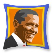Barack Throw Pillow by Douglas Simonson
