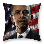 Barack Obama Throw Pillow by Andre Koekemoer