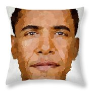 Barack Obama Throw Pillow by Samuel Majcen