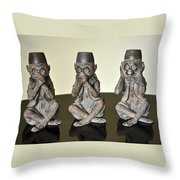 Barbary Macaques Monkeys Throw Pillow