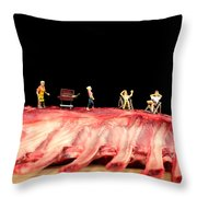 Barbecue On Lamb Ribs Throw Pillow