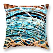 Barbed Blue Throw Pillow