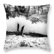 Barbed Wire In Snow Throw Pillow