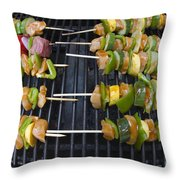 Barbeque Kabobs On Grill Throw Pillow