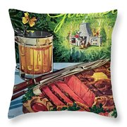Barbeque Meat And A Mug Of Beer Throw Pillow