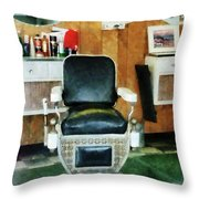 Barber - Barber Chair Front View Throw Pillow