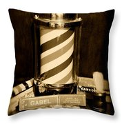 Barber - Barber Pole - Black And White Throw Pillow