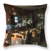 Barber - Barber Shop With Sun Streaming Through Window Throw Pillow