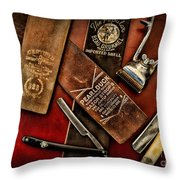 Barber - Barber Tools Of The Trade Throw Pillow by Paul Ward