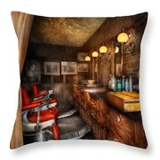 Barber - Closed On Sundays Throw Pillow by Mike Savad