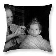 Barber - First Haircut Throw Pillow