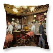 Barber - L.c. Wiseman Barbershop Ny 1895 Throw Pillow