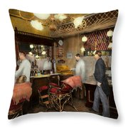 Barber - L.c. Wiseman Barbershop Ny 1895 Throw Pillow