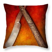 Barber - Shaving - Keep A Stiff Upper Lip Throw Pillow by Mike Savad