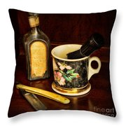 Barber - Shaving Mug And Toilet Water Throw Pillow