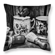 Barber - Shaving Mugs And Brushes In Black And White Throw Pillow