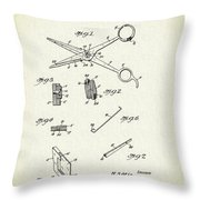 Barber Shears Patent 1927 Throw Pillow