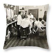 Barber Shop, 1920 Throw Pillow
