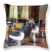 Barber - Small Town Barber Shop Throw Pillow