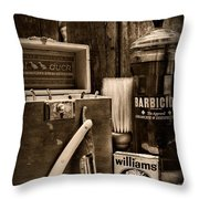 Barber - Vintage Barber Tools - Black And White Throw Pillow
