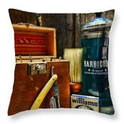 Barber - Vintage Barber Tools  Throw Pillow