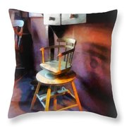 Barber - Vintage Child's Barber Chair Throw Pillow