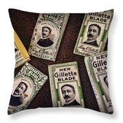 Barber - Vintage Gillette Razor Blades Throw Pillow