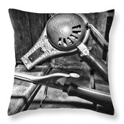 Barber - Vintage Hair Care In Black And White Throw Pillow