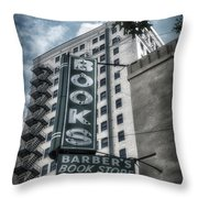 Barbers Book Store Throw Pillow