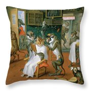 Barbers Shop With Monkeys And Cats Oil On Copper Throw Pillow