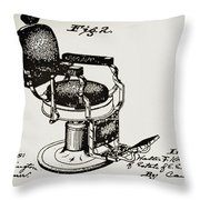 Barbershop Chair Patent Throw Pillow