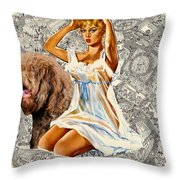 Barbet Art - Una Parisienne Movie Poster Throw Pillow by Sandra Sij