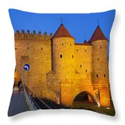 Barbican At Night In The Old Town Of Warsaw Throw Pillow