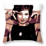 Barbra Streisand - Brown Pop Art Throw Pillow