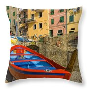 Barca Rossa A Rio Maggiore Throw Pillow