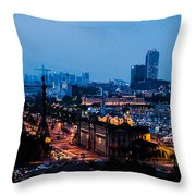 Barcelona At Night  Throw Pillow