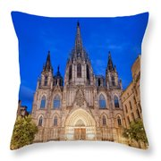 Barcelona Cathedral At Night Throw Pillow