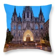 Barcelona Cathedral In The Evening Throw Pillow