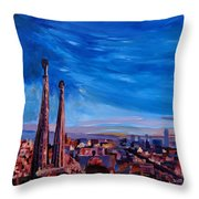 Barcelona City View And Sagrada Familia Throw Pillow