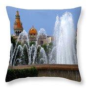Barcelona Fountain Placa De Catalunya Throw Pillow