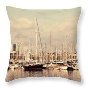 Barcelona Harbor - Vertical Throw Pillow