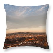 Barcelona On Sunrise. Aerial View Throw Pillow