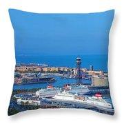 Barcelona Panorama Throw Pillow